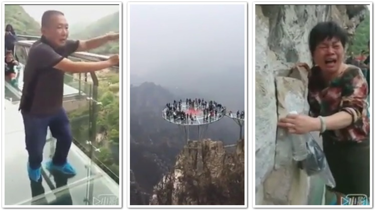 Old Folks Have Panic Attacks Trying To Cross A Glass Bridge In China