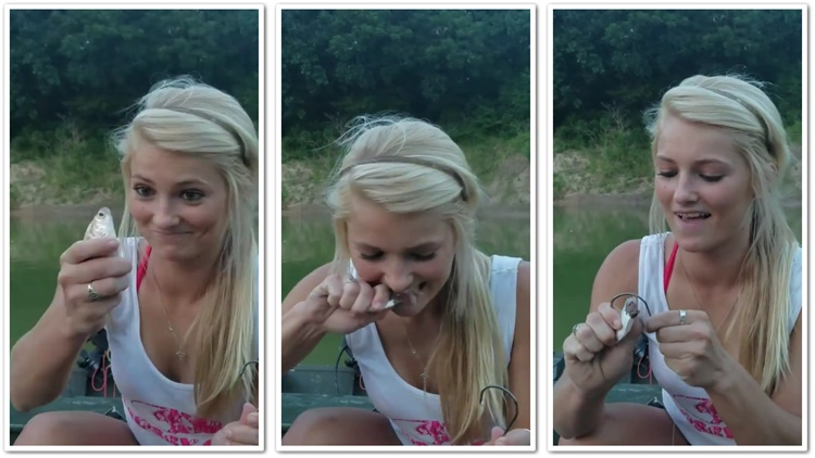 White Girl Bites The Head Off A Fish To Use It As Bait
