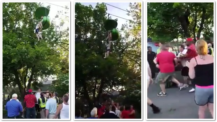 Girl Gets Stuck On A Ride Then Falls To The Ground