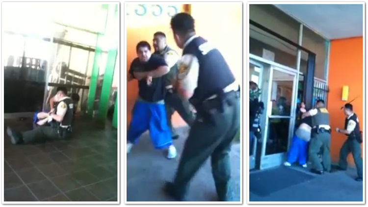 Security Guards At A Bank Beat Guy For Trying To Steal