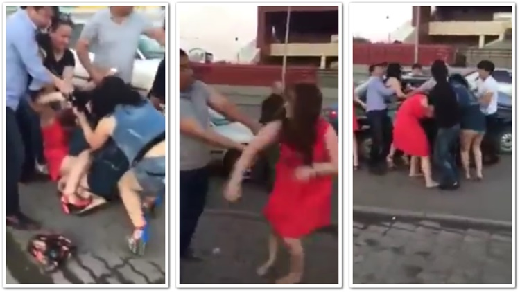 Asian Men Struggle To Contain A Girlfight After Club