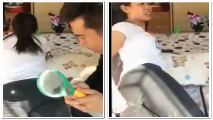 Savage Asian Guy Burns His Wife's Butt With A Magnifying Glass