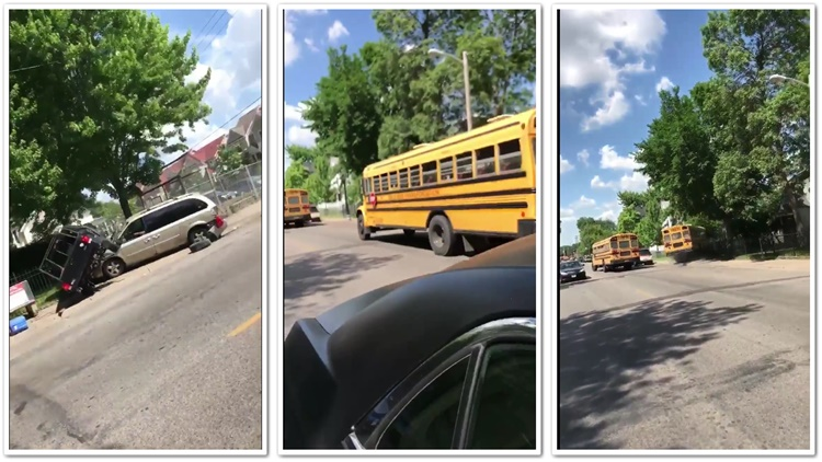 School Bus Trying To Avoid  Collision Crashes In The Woods