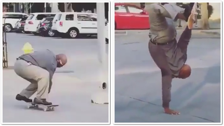 Old Head Shows Out On Skateboard And The Neighborhood Kids Went Crazy
