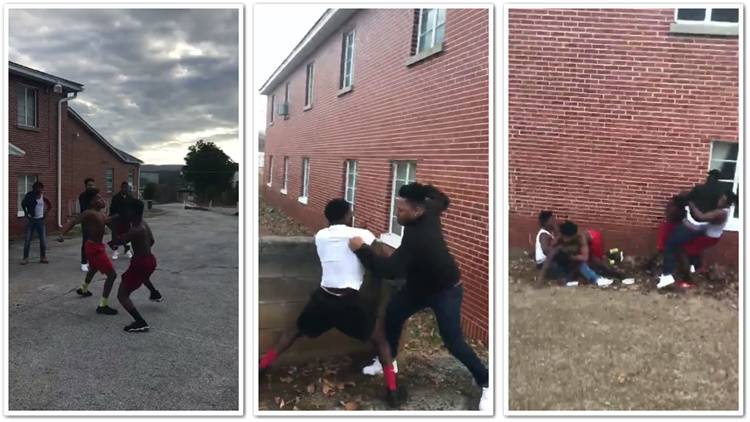 1vs1 Fight Turns Into 2vs2 Which Turns Into An All Out Hood Brawl