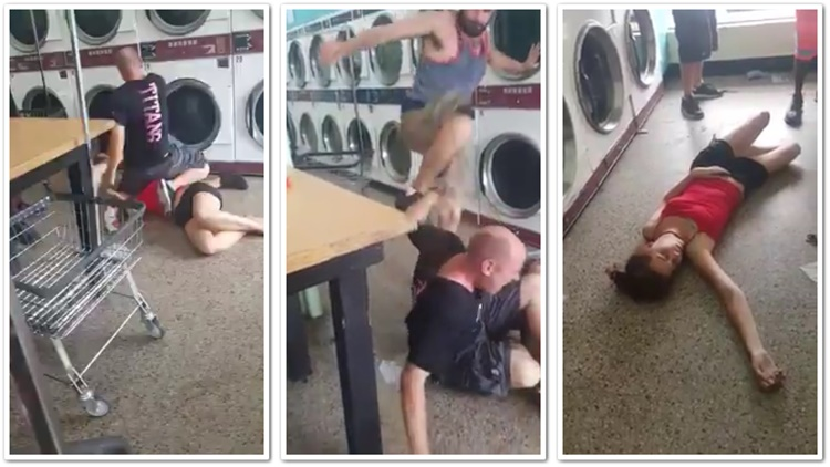 Girl Gets Knocked Out During Laundromat Fight